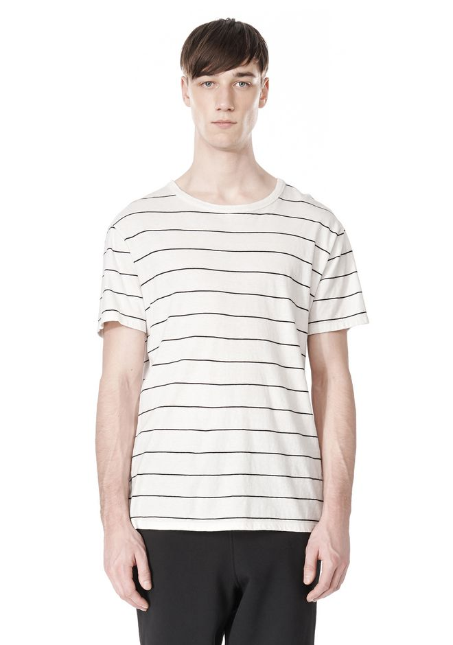 T by ALEXANDER WANG LINEN STRIPE SHORT SLEEVE TEE TOP Adult 12_n_e