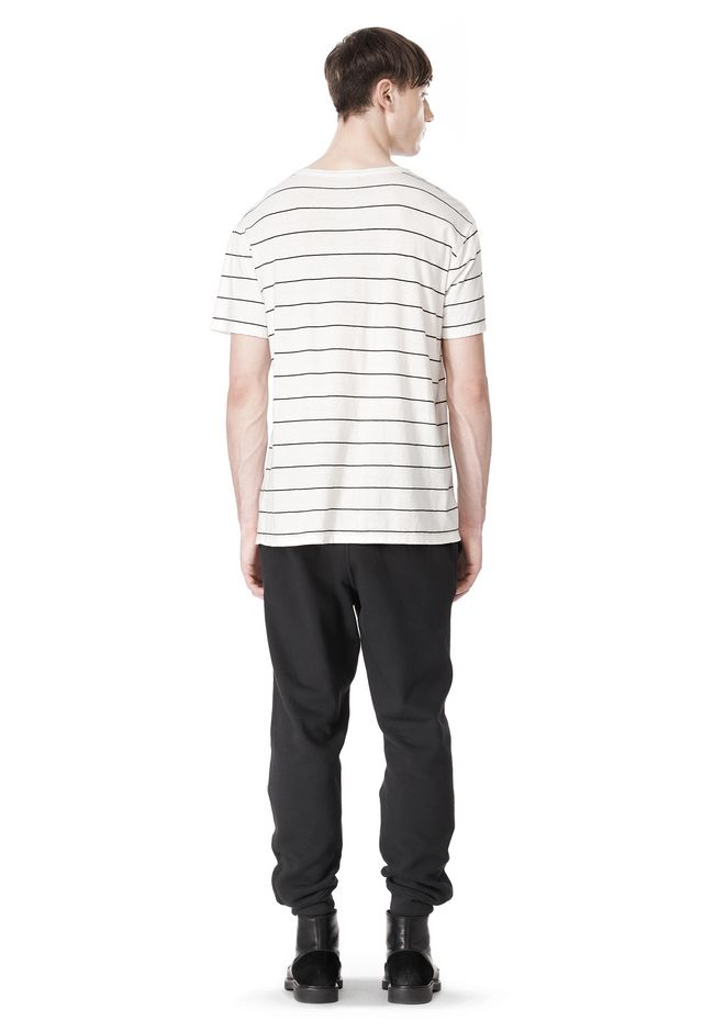 T by ALEXANDER WANG LINEN STRIPE SHORT SLEEVE TEE TOP Adult 12_n_r
