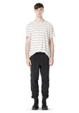 T by ALEXANDER WANG LINEN STRIPE SHORT SLEEVE TEE TOP Adult 8_n_f