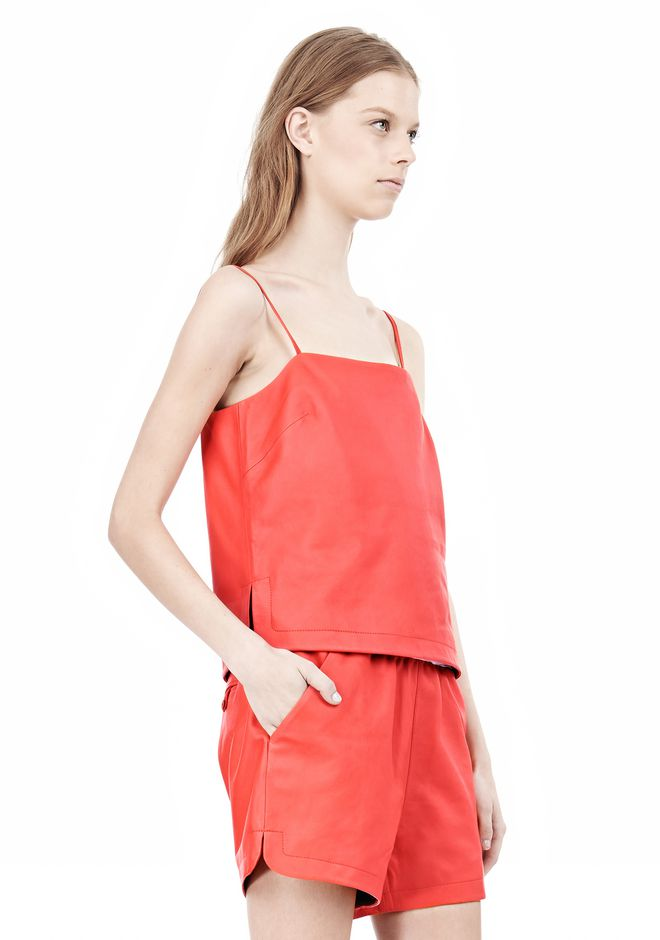 T by ALEXANDER WANG LEATHER SQUARE NECK CAMISOLE TOP Adult 12_n_a