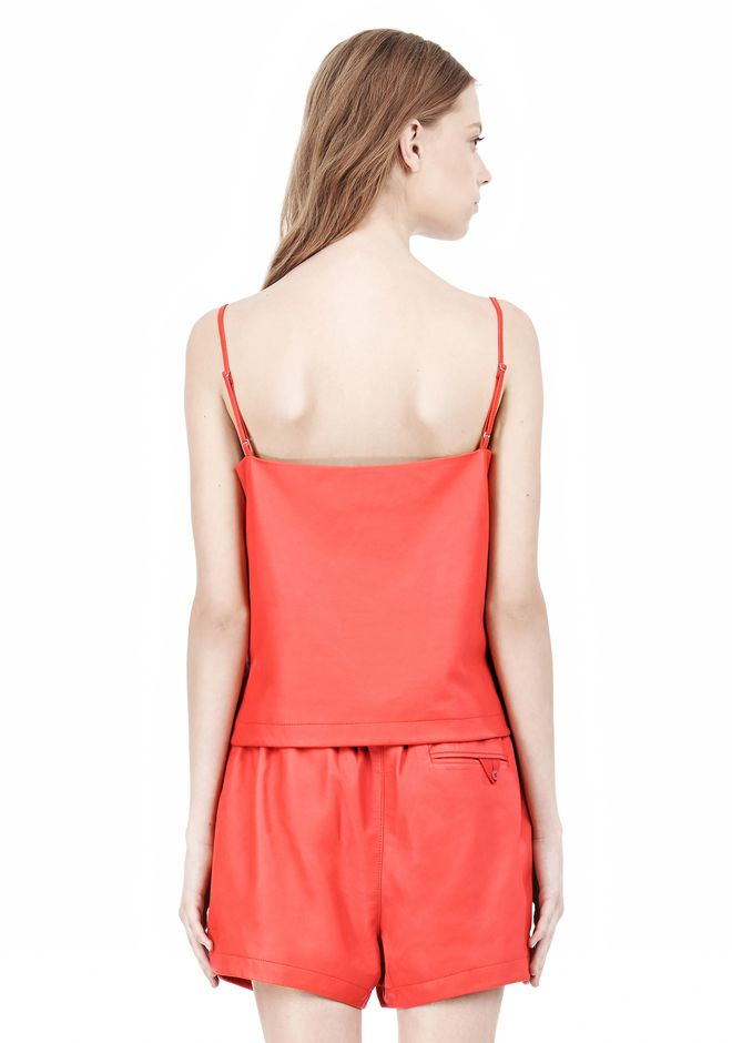 T by ALEXANDER WANG LEATHER SQUARE NECK CAMISOLE TOP Adult 12_n_d