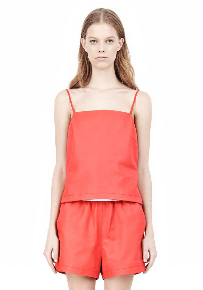 T by ALEXANDER WANG LEATHER SQUARE NECK CAMISOLE TOP Adult 12_n_e
