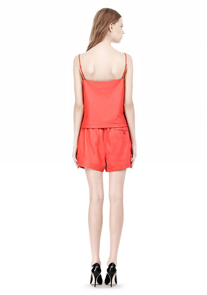 T by ALEXANDER WANG LEATHER SQUARE NECK CAMISOLE TOP Adult 12_n_r