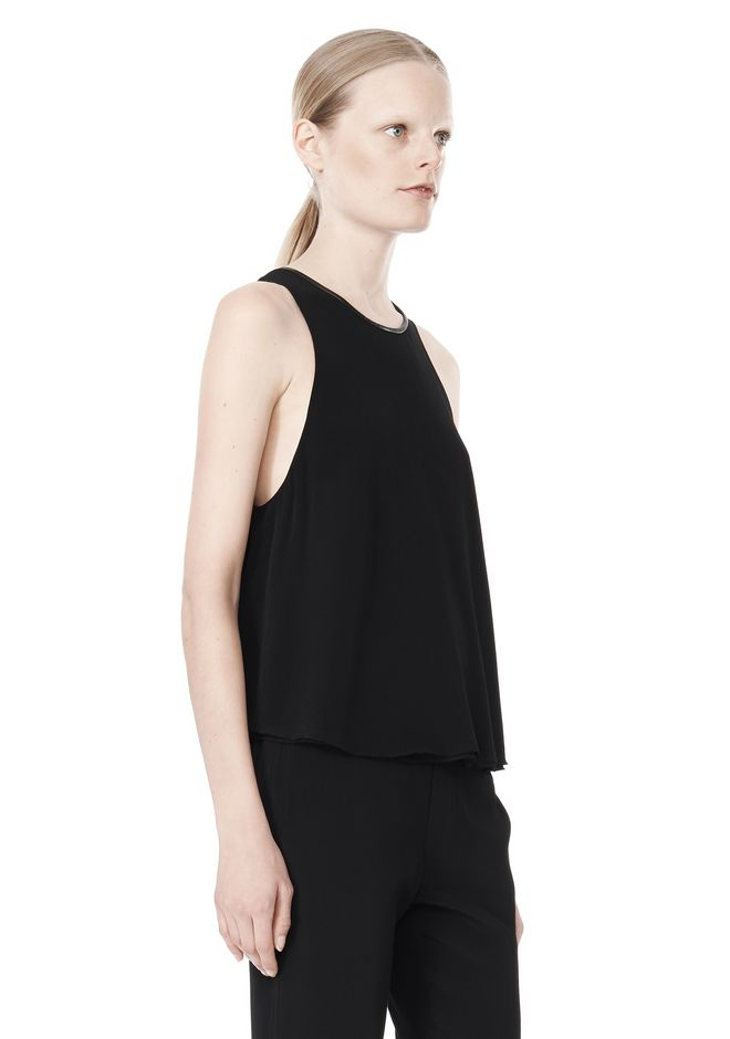 T by ALEXANDER WANG VISCOSE CREPE TOP WITH LEATHER TRIM TOP Adult 12_n_a