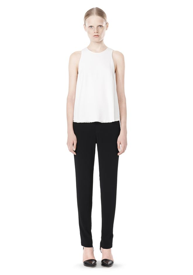T by ALEXANDER WANG VISCOSE CREPE TOP WITH LEATHER TRIM TOP Adult 12_n_f