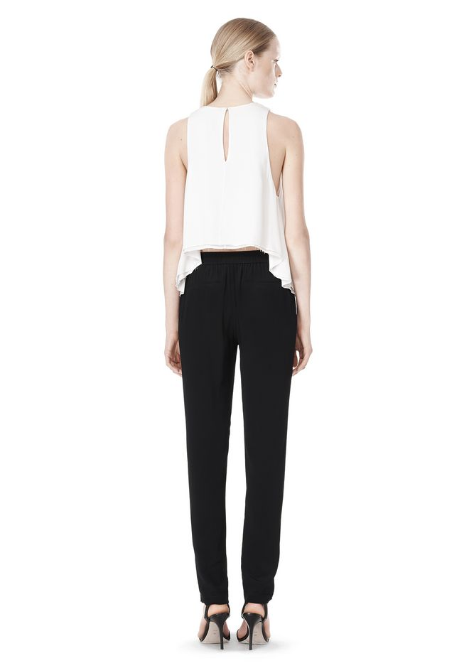 T by ALEXANDER WANG VISCOSE CREPE TOP WITH LEATHER TRIM TOP Adult 12_n_r