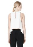 T by ALEXANDER WANG VISCOSE CREPE TOP WITH LEATHER TRIM TOP Adult 8_n_d