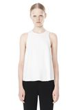 T by ALEXANDER WANG VISCOSE CREPE TOP WITH LEATHER TRIM TOP Adult 8_n_e