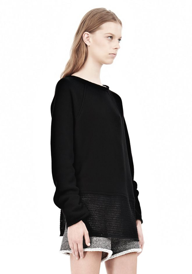 T by ALEXANDER WANG  FRENCH TERRY SWEATSHIRT WITH MESH TOP Adult 12_n_a