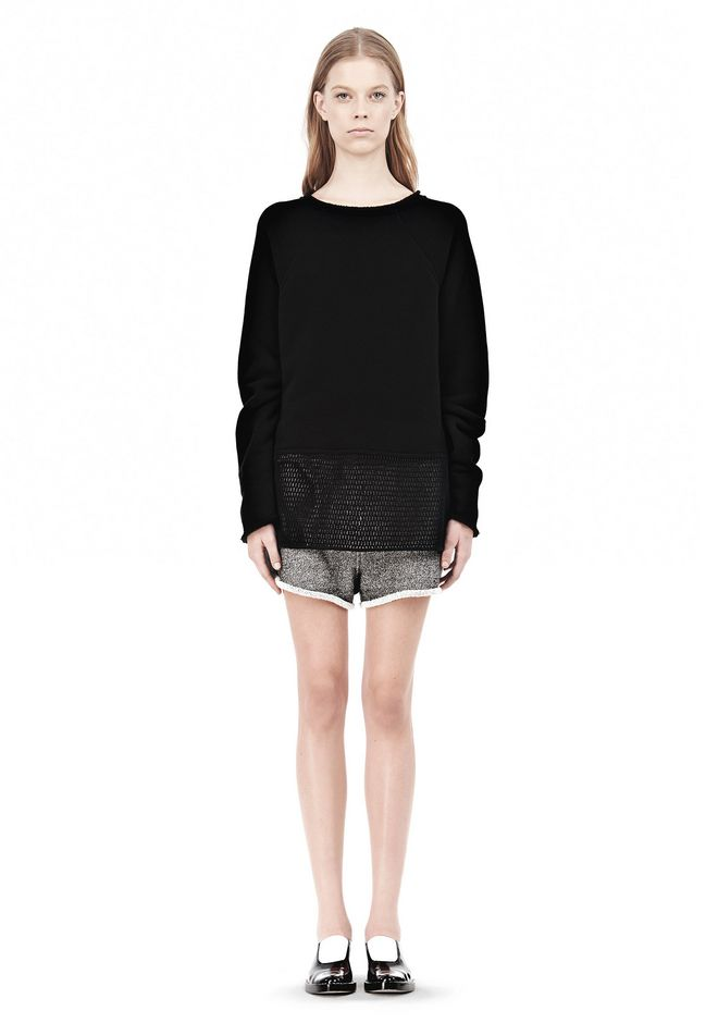 T by ALEXANDER WANG  FRENCH TERRY SWEATSHIRT WITH MESH TOP Adult 12_n_f