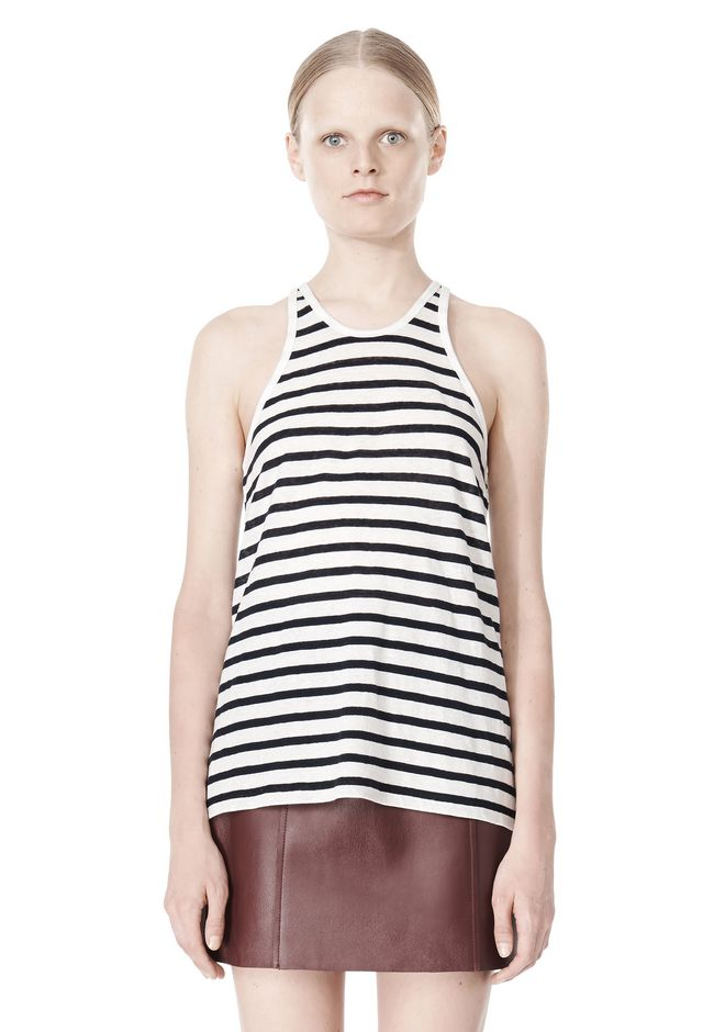 T by ALEXANDER WANG STRIPE LINEN COTTON TANK TOP Adult 12_n_e