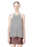 T by ALEXANDER WANG STRIPE LINEN COTTON TANK TOP Adult 8_n_e