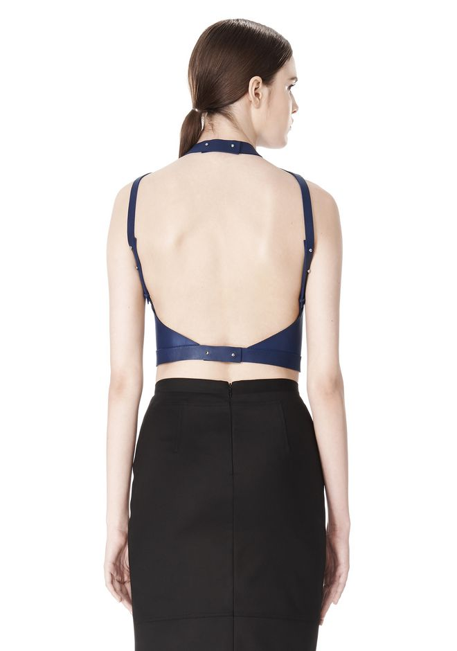 ALEXANDER WANG CROPPED HALTERNECK LEATHER TOP  TOP Adult 12_n_e