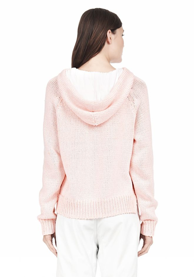 T by ALEXANDER WANG SPECKLED KNITTED HOODIE TOP Adult 12_n_d