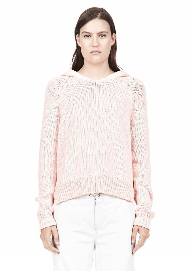 T by ALEXANDER WANG SPECKLED KNITTED HOODIE TOP Adult 12_n_e