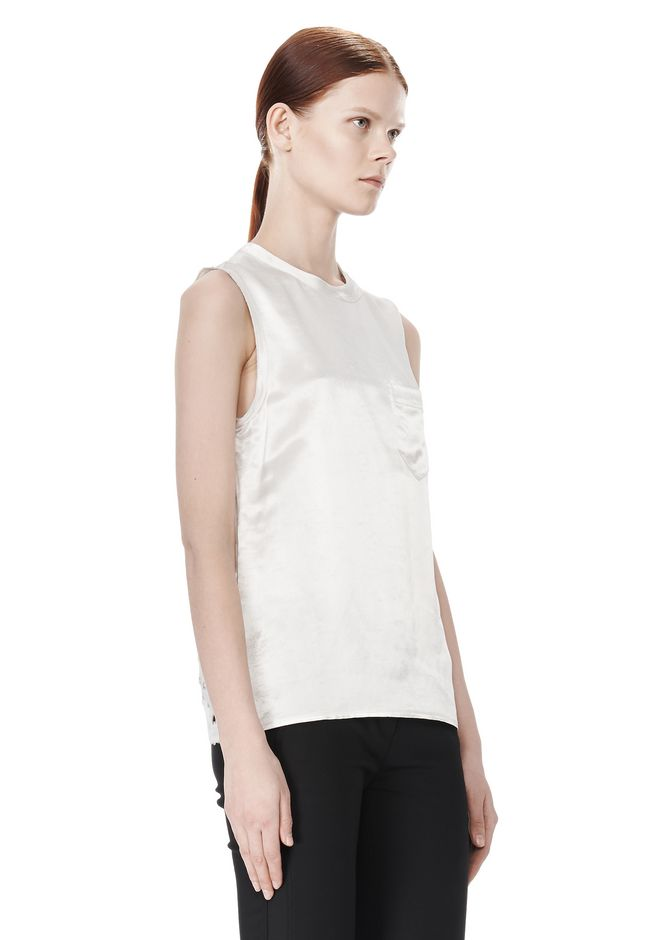 ALEXANDER WANG CREWNECK TOP WITH DISTRESSED BACK DETAIL TOP Adult 12_n_a