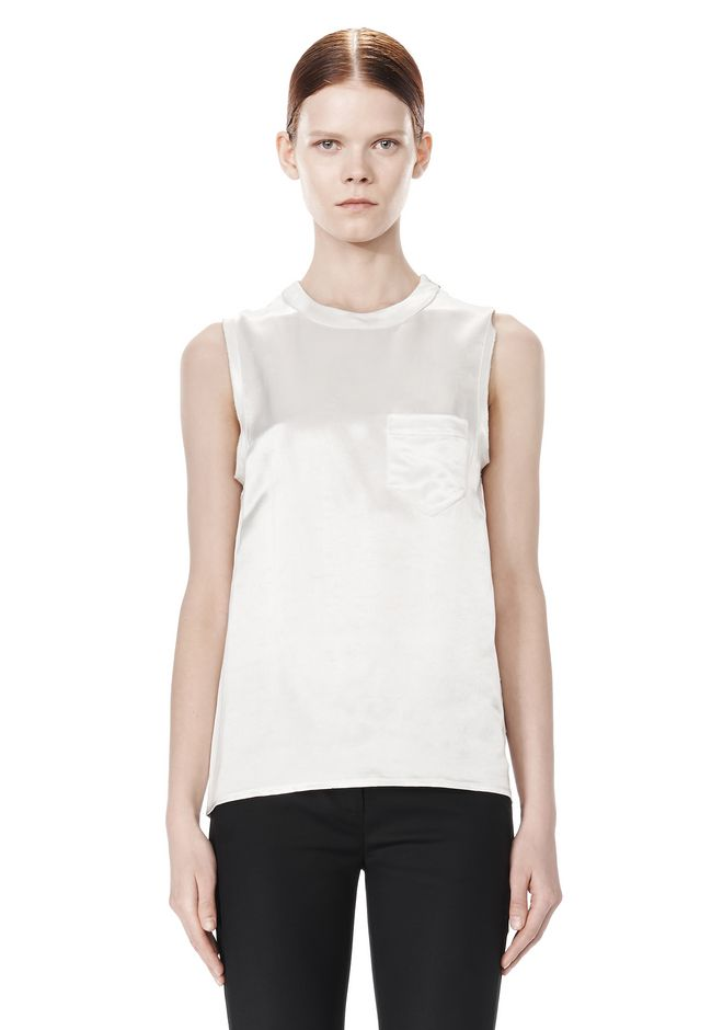 ALEXANDER WANG CREWNECK TOP WITH DISTRESSED BACK DETAIL TOP Adult 12_n_e