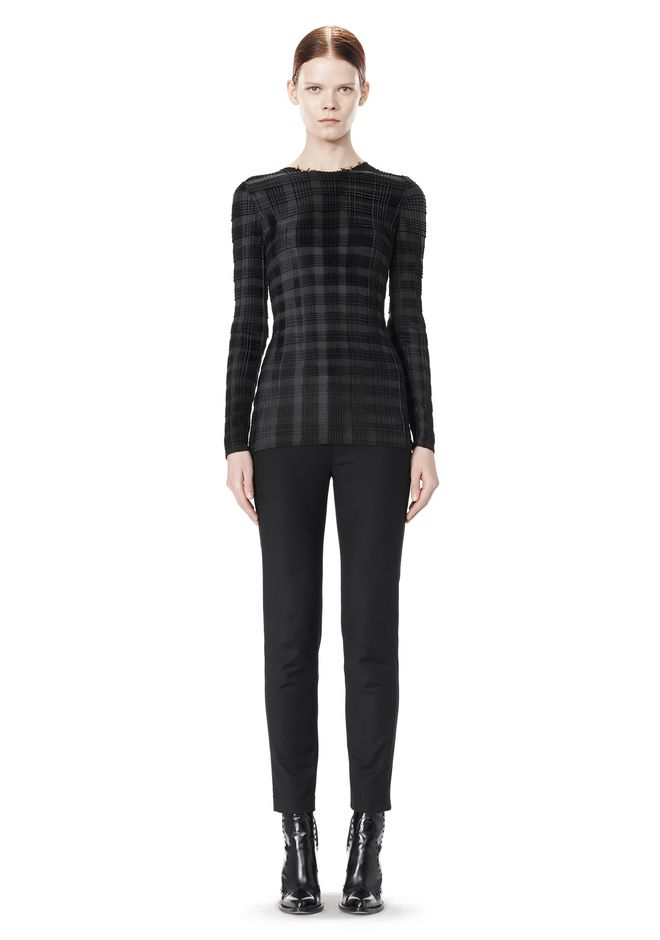 ALEXANDER WANG EXCLUSIVE LONG SLEEVE PLEATED TOP WITH RAW EDGE TOP Adult 12_n_f