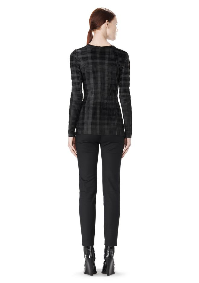 ALEXANDER WANG EXCLUSIVE LONG SLEEVE PLEATED TOP WITH RAW EDGE TOP Adult 12_n_r