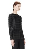 ALEXANDER WANG EXCLUSIVE LONG SLEEVE PLEATED TOP WITH RAW EDGE TOP Adult 8_n_a