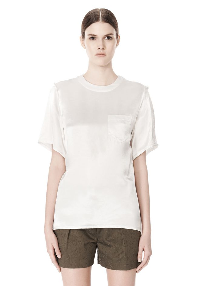 ALEXANDER WANG T-SHIRT WITH EXPOSED DISTRESSED BACK TOP Adult 12_n_d