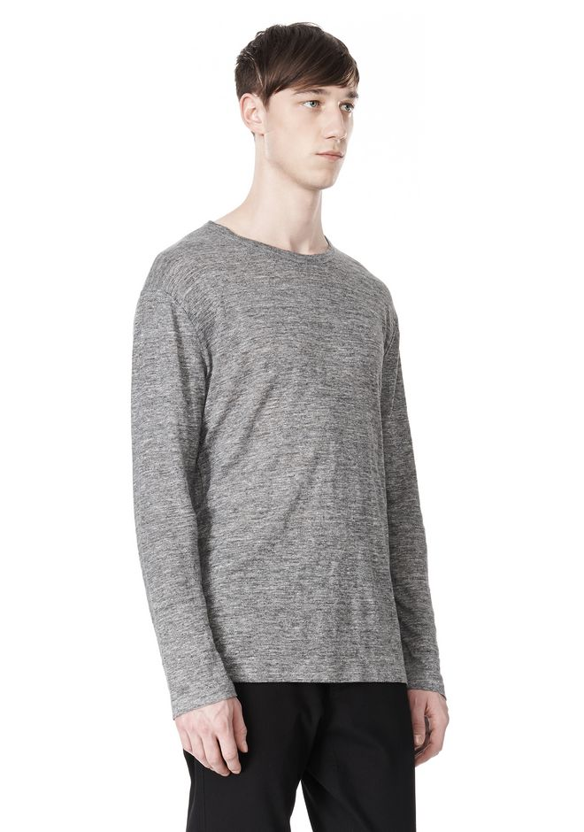 T by ALEXANDER WANG HEATHER LINEN CREWNECK LONG SLEEVE TEE TOP Adult 12_n_a