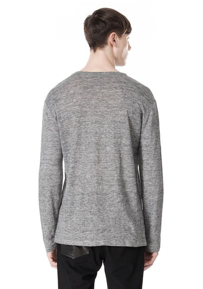 T by ALEXANDER WANG HEATHER LINEN CREWNECK LONG SLEEVE TEE TOP Adult 12_n_d