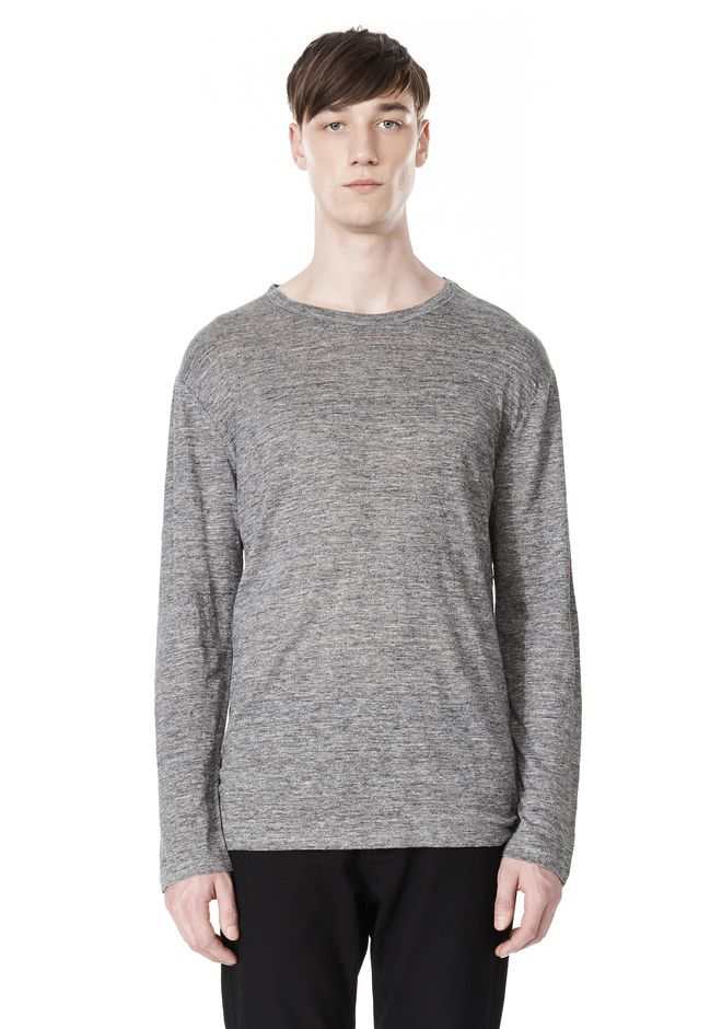 T by ALEXANDER WANG HEATHER LINEN CREWNECK LONG SLEEVE TEE TOP Adult 12_n_e