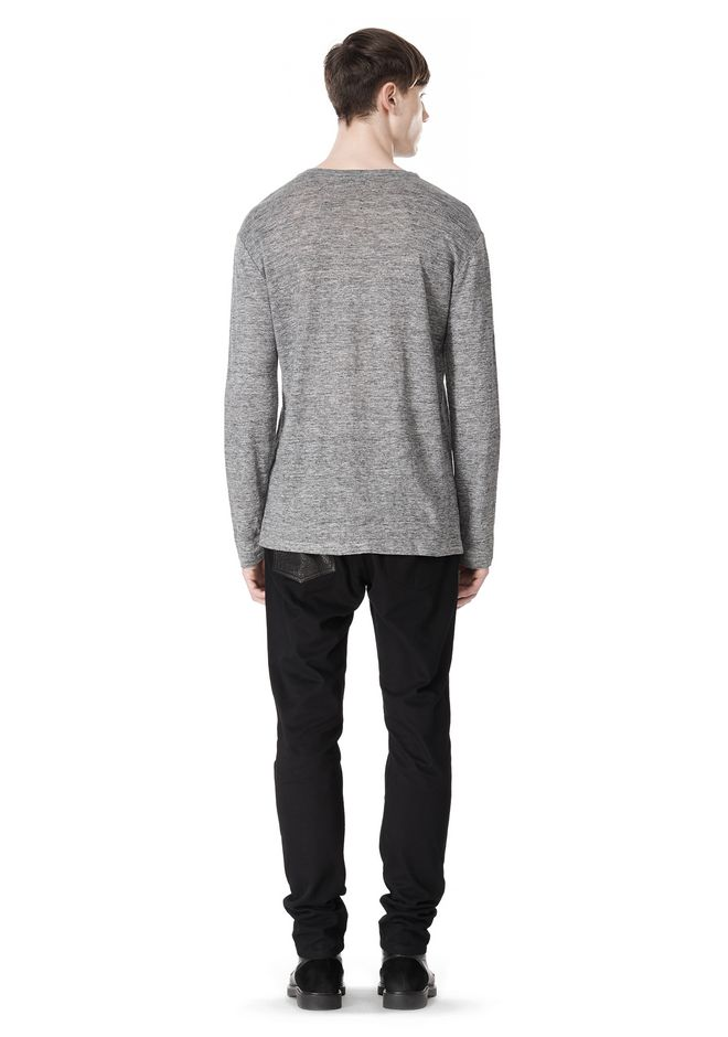 T by ALEXANDER WANG HEATHER LINEN CREWNECK LONG SLEEVE TEE TOP Adult 12_n_r