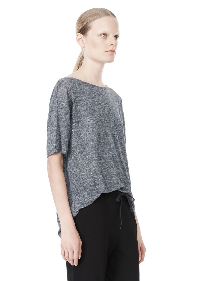 T by ALEXANDER WANG HEATHER LINEN OVERSIZED TEE TOP Adult 12_n_a