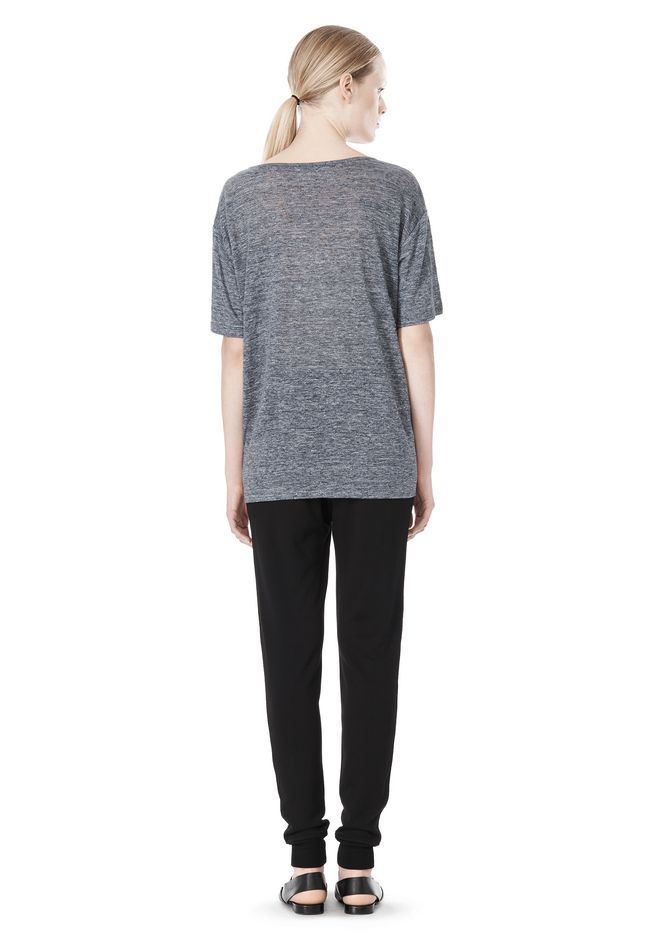 T by ALEXANDER WANG HEATHER LINEN OVERSIZED TEE TOP Adult 12_n_r
