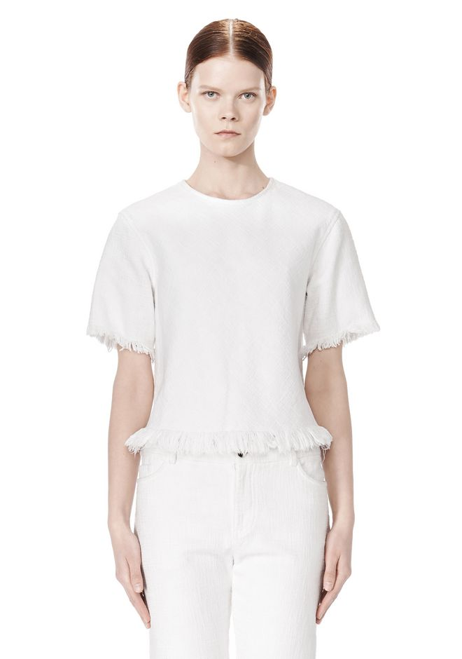 T by ALEXANDER WANG COTTON BURLAP TOP WITH FRAYED HEM TOP Adult 12_n_e