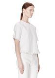 T by ALEXANDER WANG COTTON BURLAP TOP WITH FRAYED HEM TOP Adult 8_n_a