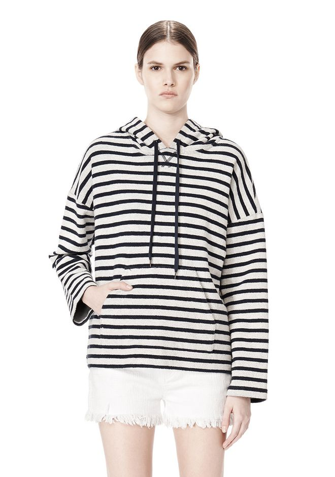 T by ALEXANDER WANG STRIPED FRENCH TERRY HOODED SWEATSHIRT TOP Adult 12_n_e