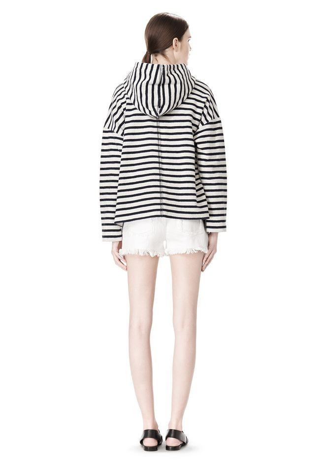 T by ALEXANDER WANG STRIPED FRENCH TERRY HOODED SWEATSHIRT TOP Adult 12_n_r