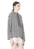 T by ALEXANDER WANG STRIPED FRENCH TERRY HOODED SWEATSHIRT TOP Adult 8_n_a