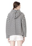 T by ALEXANDER WANG STRIPED FRENCH TERRY HOODED SWEATSHIRT TOP Adult 8_n_d