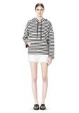 T by ALEXANDER WANG STRIPED FRENCH TERRY HOODED SWEATSHIRT TOP Adult 8_n_f