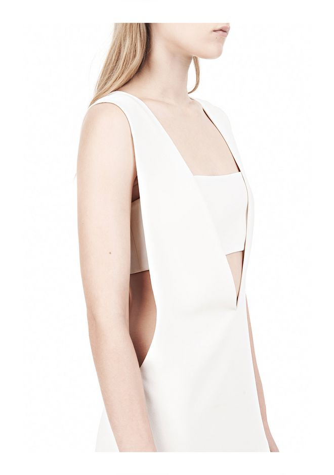T by ALEXANDER WANG POLY CREPE LOW V-NECK TANK TOP WITH BANDEAU INSERT TOP Adult 12_n_a