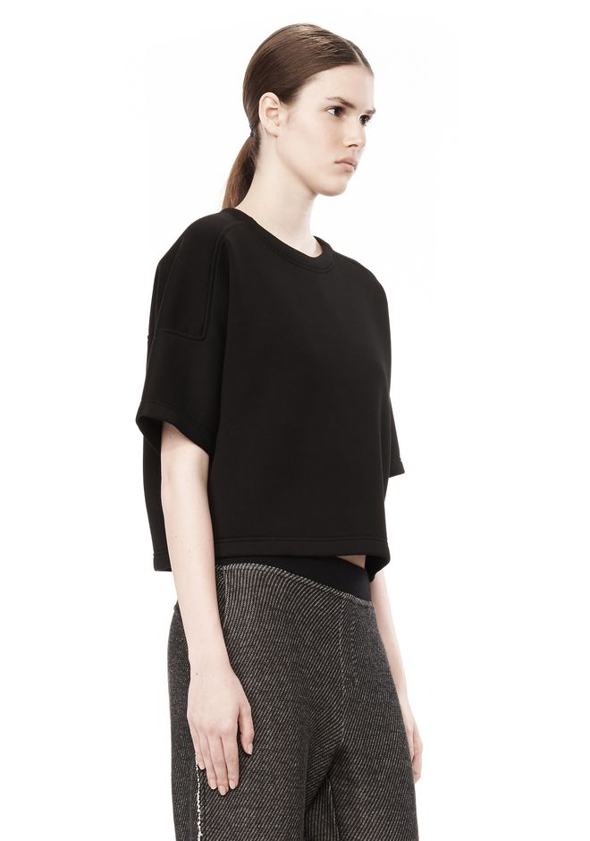 T by ALEXANDER WANG SCUBA DOUBLE KNIT SHORT SLEEVE TOP TOP Adult 12_n_a