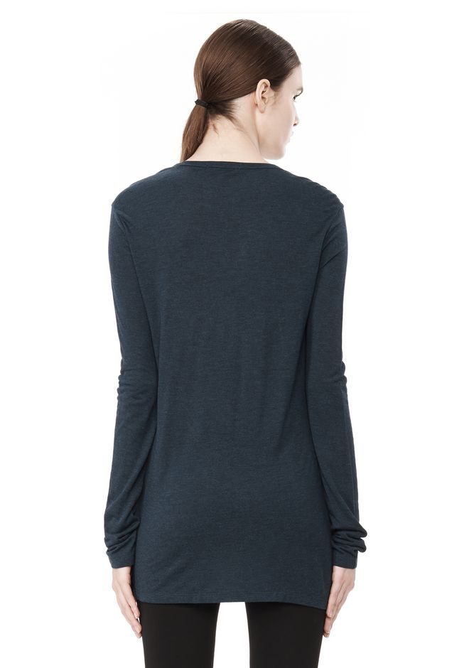T by ALEXANDER WANG CLASSIC LONG SLEEVE TEE WITH POCKET TOP Adult 12_n_d
