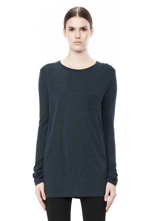 T by ALEXANDER WANG CLASSIC LONG SLEEVE TEE WITH POCKET TOP Adult 12_n_e