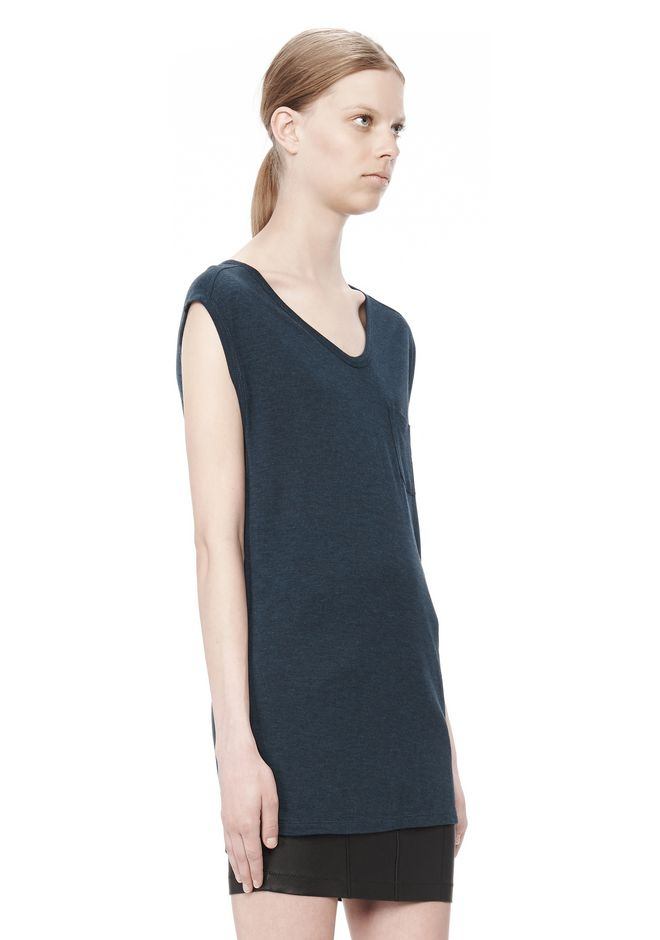 T by ALEXANDER WANG CLASSIC MUSCLE TEE WITH POCKET TOP Adult 12_n_a