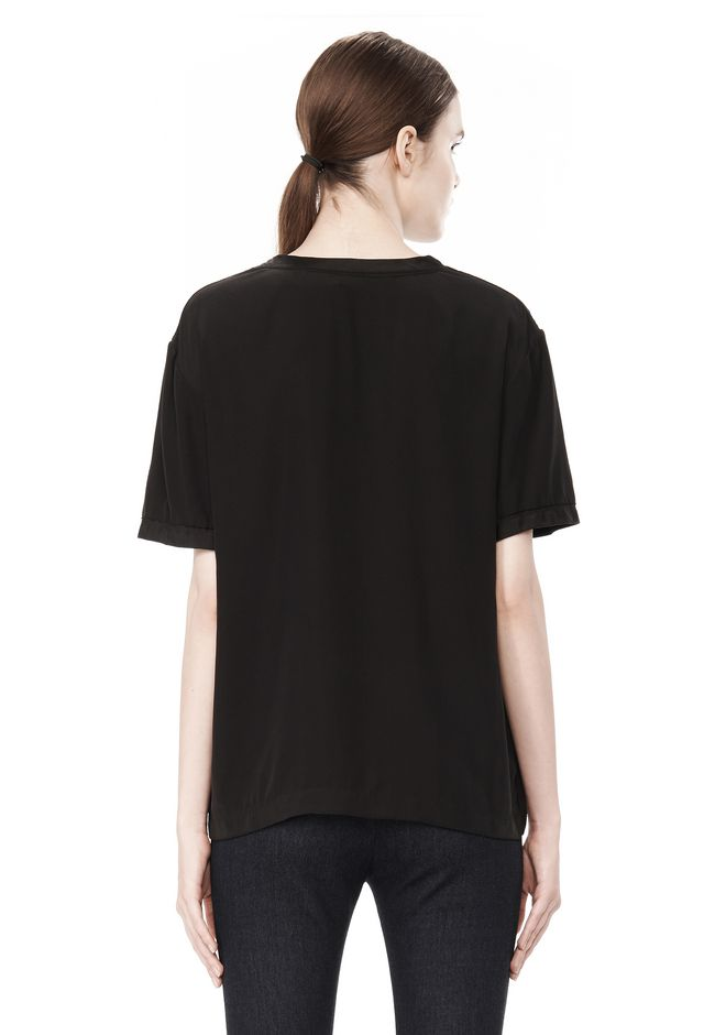 T by ALEXANDER WANG WASHED SILK CHARMEUSE SHORT SLEEVE TEE TOP Adult 12_n_d