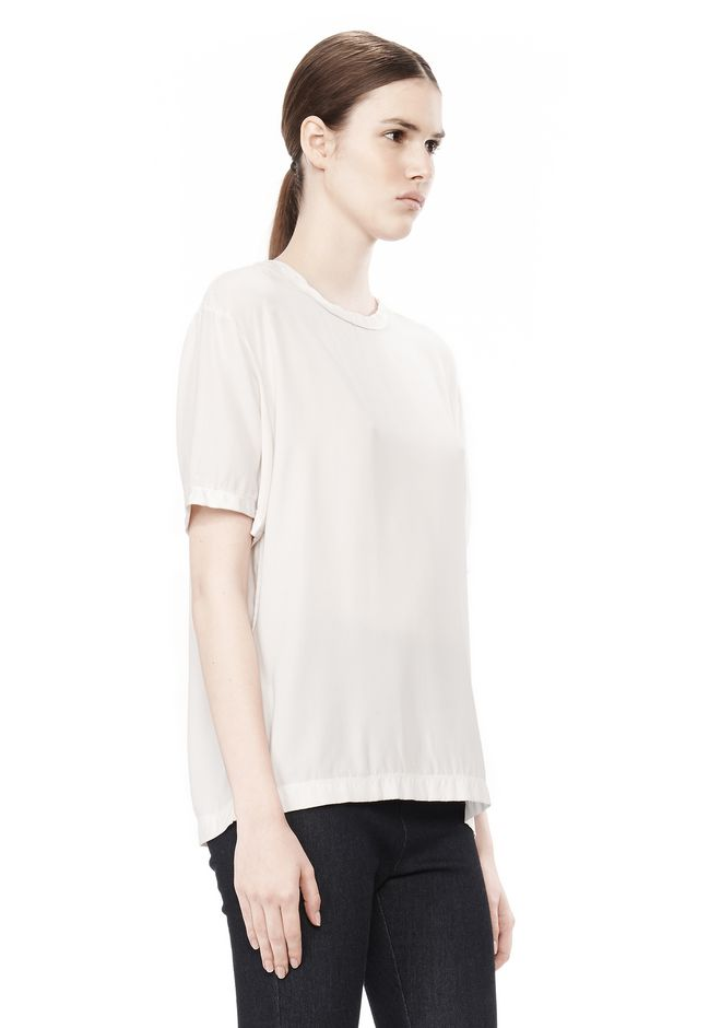 T by ALEXANDER WANG WASHED SILK CHARMEUSE SHORT SLEEVE TEE TOP Adult 12_n_a