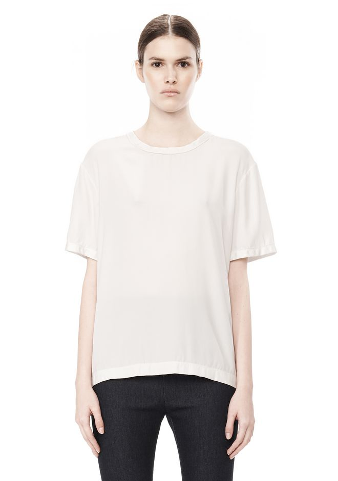 T by ALEXANDER WANG WASHED SILK CHARMEUSE SHORT SLEEVE TEE TOP Adult 12_n_e