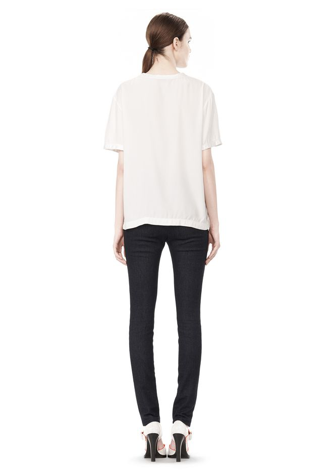 T by ALEXANDER WANG WASHED SILK CHARMEUSE SHORT SLEEVE TEE TOP Adult 12_n_r
