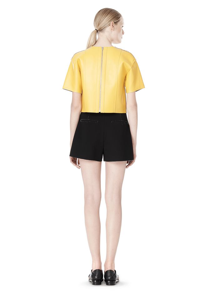 T by ALEXANDER WANG RAW EDGE SHORT SLEEVE CROPPED LEATHER TOP TOP Adult 12_n_r