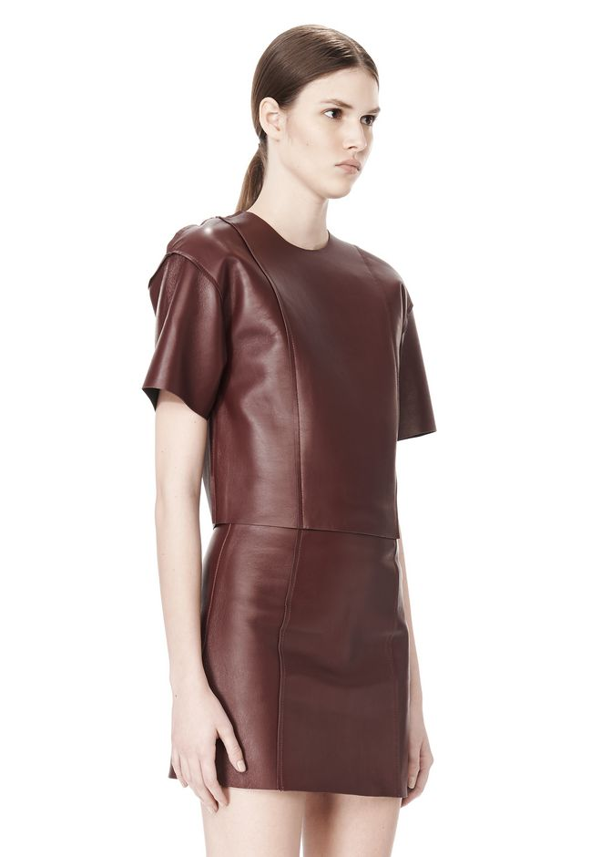 T by ALEXANDER WANG RAW EDGE SHORT SLEEVE CROPPED LEATHER TOP TOP Adult 12_n_a