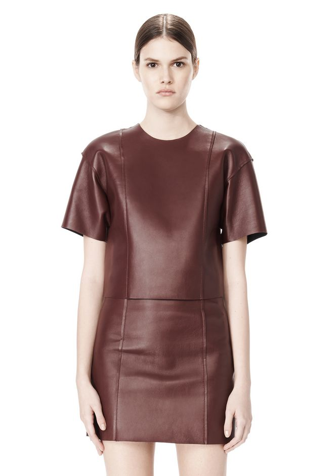 T by ALEXANDER WANG RAW EDGE SHORT SLEEVE CROPPED LEATHER TOP TOP Adult 12_n_e